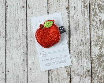 Red Apple Vinyl Glitter Felt Hair Clip - Back to School Clippie - first day of school hair bow - fall and autumn hairbow - non slip grip