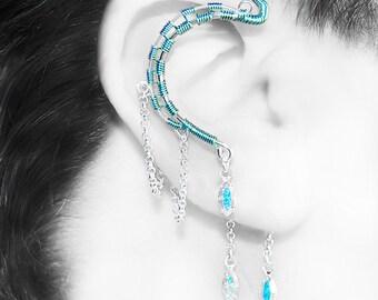 Aqua and Crystal ab Swarovski Crystal Ear Wrap, No piercing required