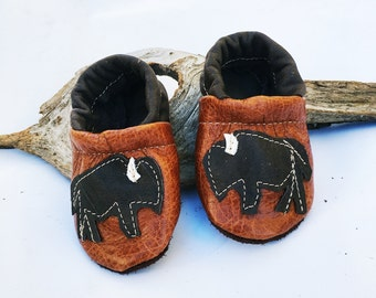 Bison Buffalo Soft Soled Leather Shoes Slippers Baby and Toddler
