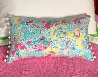 New Pillow made with Lilly Pulitzer In The Beginning fabric
