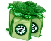 Juniper Breeze Handmade Cold Process Soap Bar, 4oz - fresh scent, unisex, green, vegan, natural, organic sustainable palm oil, organza bag