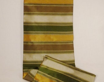 Raw  Silk SCARF 1950s  green and gold Color LINES  Plaid  50 X 9.5  hand fringed Thailand Siam