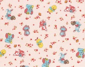Clearance FABRIC 1930s Inspired Retro BABY ANIMALS print in Pink  1/2 Yard