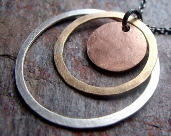 Sterling Silver, 14K Rose Goldfill, and 14K Yellow Goldfill Necklace - Mixed Metal Rings Pendant on Sterling Silver Chain