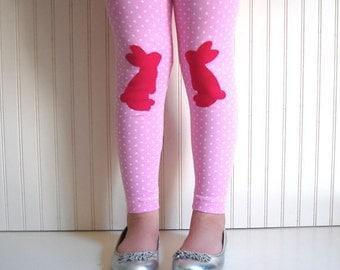 Bunny Leggings Rabbit Tights Pink Polka Dot Leggings Girls Leggings Easter Bunny Leggings Easter leggings