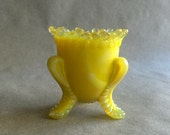 Vintage Toothpick Holder Boyd Yellow Slag Glass Forget Me Not or Daisy Pattern Spring Devor Easter Table Decoration