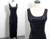 VTG 90's Witchy Black Crushed Velvet Bodycon Maxi Dress (Medium) Sleevless Sheath Scoop Back Goth Grunge Cocktail Vintage