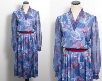 VTG 70's Autumn Serene Secretary Dress (Medium / Large) Blue & Dark Red Maple Leaves Ruffle V Neck Sheer Long Sleeves Full Skirt
