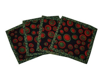 Quilted Coasters in Seasonal Colors of Red and Green