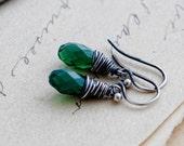 Green Opal Earrings, Drop Earrings, Crystal Earrings, Crystal Jewelry, Swarovski Crystal, Grass Green, Emerald Green, Wire Wrapped, PoleStar