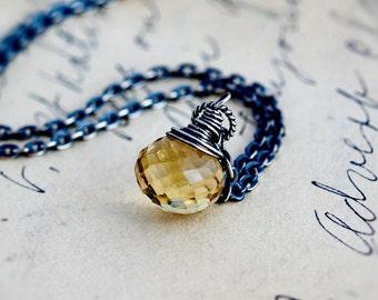 Gemstone Necklace, Gemstone Pendant, Scapolite Necklace, Wire Wrapped, Pendant Necklace, Sterling Silver, Butter Yellow, Antiqued, PoleStar