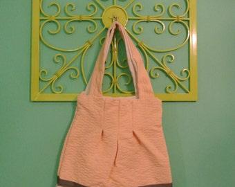 Peach Shoulder Bag w/ Canvas