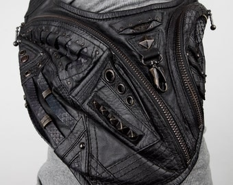 SAMURAI SLAYER Black Leather Crossbody Mini Messenger Bag SALE