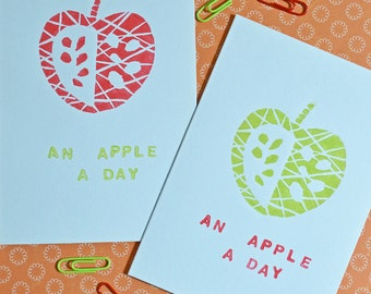 apple a day handprinted linocut card
