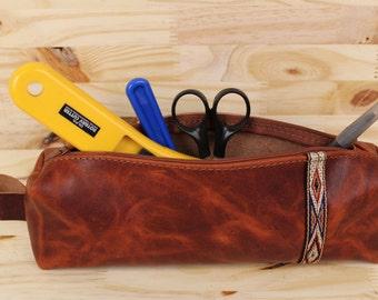 Explorer Leather Pencil Case with Zipper