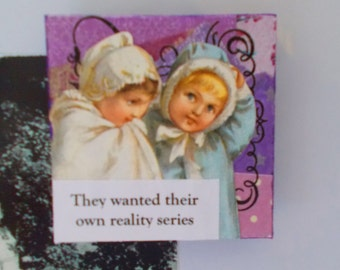 Adorable Purple Art Fridge Magnet With Egotistical Victorian Children