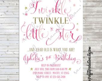 Twinkle Twinkle Little Star birthday party invitation - digital file