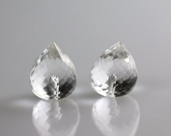 Half Drilled Beads - Crystal Quartz - Half Drilled - Pointy Onion Pair