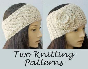 Two Knitting Patterns, Knit Ear Warmer Patterns , Lace Headband, PDF Pattern, Head Wrap Digital Download
