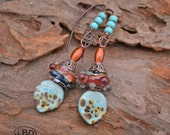 Handmade Mango Tango Lampwork Earrings