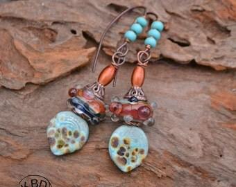 Handmade Mango Tango Lampwork Earrings