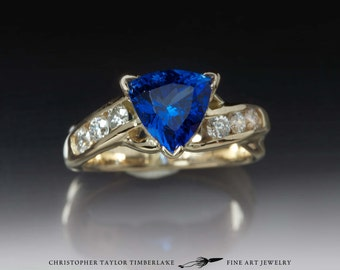 14K Yellow Gold with Tanzanite and Diamond Engagement Ring