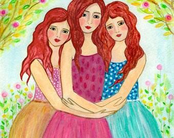 Three Sisters Art Print - Three Red Hair Sisters - Best Friend Sister Gift - Three Best Friends