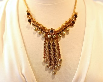 1950's Gold Rhinestone Statement Necklace and Earring Set by St Labre