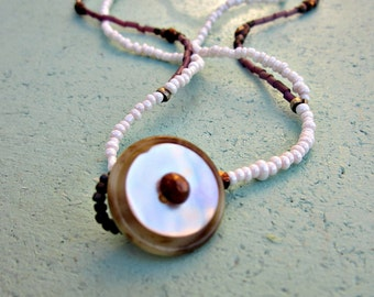 Delicate Two Strand Glass Beaded Button Clasp Necklace: Light Snow WAS 14.00
