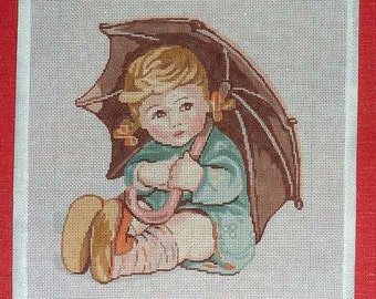 Little Girl with Umbrella Theodora Handpainted Needlepoint #16 Canvas