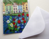 Houses by the River, greetings card, original whimsical  FREE SHIPPING with another item