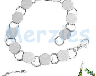 """MERZIEs Bracelet BLANK 7.5"""" lobster clasp 12-9mm pads silver round disk for glue on typewriter keys glass buttons or cabs - SHIPs from USA"""