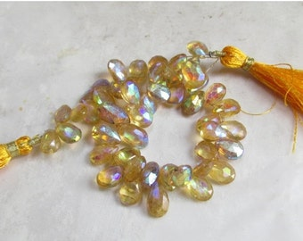 25% Off SALE Mystic Citrine Briolette Beads, 8 Inches , 10mm 12mm
