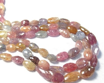 25% Off SALE Large Pink Blue Sapphire  Beads, Untreated African Gemstone, Orange Gold Purple Nugget LONG 18-20 Inches , 1 Strand