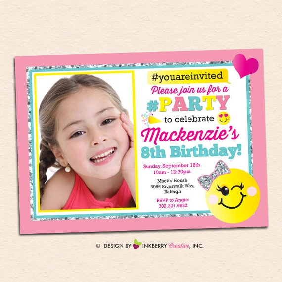 Personalized Emoji Party Invite