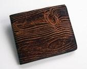 Wood Grain Wallet - Thin Bi-fold with Woodgrain Design - Men's Leather Wallet