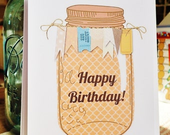 Mason Jar Birthday Cards, Burlap Cards, Rustic Birthday, Set of 10