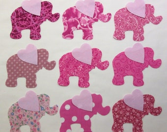 Set of 9 Pink Elephant Iron-on Cotton Fabric Appliques  for Quilts, Apparel Etc