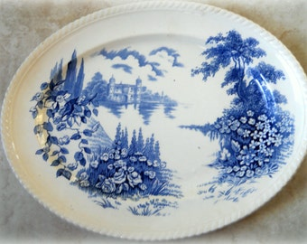Vintage Blue White Transferware Oval Serving Platter, Johnson Bros England -Castle on the Lake , English Countryside, Pastry Tray