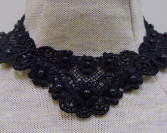 Black floral applique necklace- 3 small appliques together