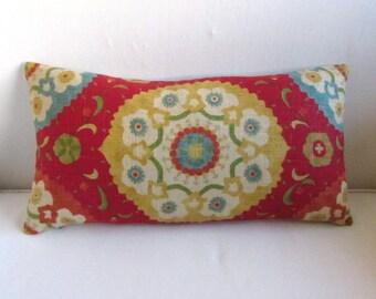 LINEN MEDALION decorative lumbar bolster pillow with insert 13x26