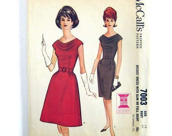 Vintage 1960s Sewing Pattern Misses' Cowl Neckline Dress with Slim or Full Skirt / McCall's 7003t / Size 12 Bust 32