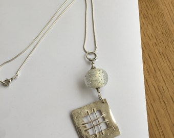 Sterling Silver Glass Ball Pendant Necklace