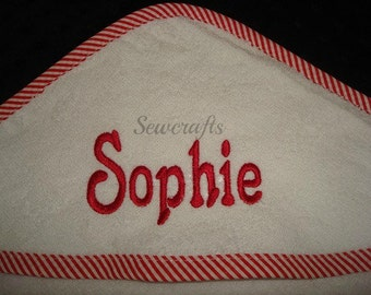 Sophie Personalized Hooded Towel - Choice of Edging White Pink striped  Blue striped or Red striped Edging  Name or up to 3 monograms