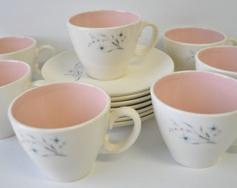 Vintage Windemere pattern Ever Yours by Taylor Smith & Taylor /  retro mid century modern cups and saucers / cup and saucer set