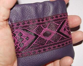 Dark Purple LEATHER Coin Purse w/Embroidered Trim
