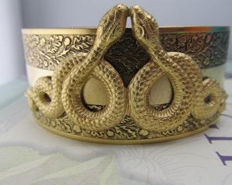 Snake bracelet Egyptian revival Serpent cuff Double snakes bracelet Gold snakes bracelet
