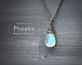 Phoebe - Smooth Rainbow Moonstone Simple Solitaire Wire Wrapped Sterling Silver Necklace