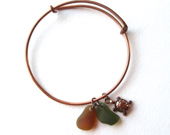 Adjustable Copper Bangle Bracelet with a Copper Turtle Charm and Genuine Forest Green and Brown Sea Glass Charms
