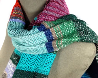 Eloise | Woven Women's Fashion | Handwoven Turquoise, Magenta & Sapphire Scarf | Heirloom Textile | Striped Loomed Scarf | Gifts for Her